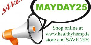 Discount code MAYDAY25 for 25% discount for Healthy Hemp online store. Exp: 31/5/2020